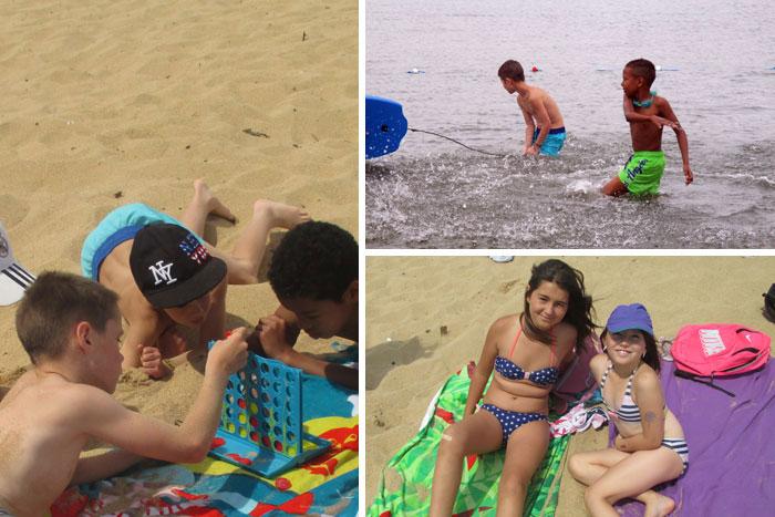 Jeux et baignades à la plage
