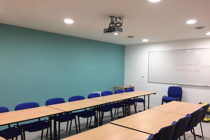 La salle de réunion en phase de finition